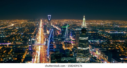 aerial panoramic view of riyadh city at night