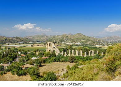Aerial panoramic view of the Roman aqueduct that served the ancient city of Aspendos, Turkey