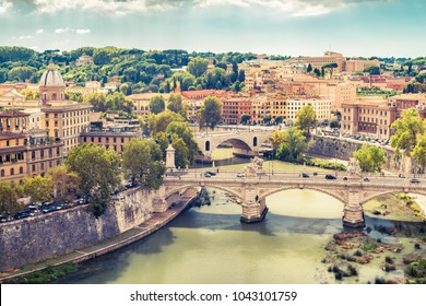 Aerial panoramic view of Rome, Italy. Tiber River with bridges in Rome on a sunny day. Rome skyline in summer. Beautiful scenic panorama of Rome city in the sunlight. Vintage photo.