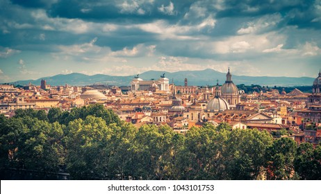 Aerial panoramic view of Rome in summer, Italy. Rome skyline. Old Rome in the sunlight. Beautiful scenic panorama of Rome on a sunny day. Vintage photo.