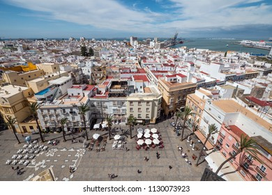Aerial panoramic view of the roofs of Cadiz, Spain.