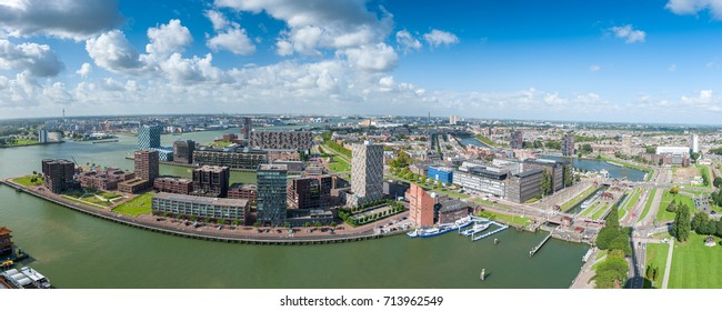 Aerial panoramic view of Rotterdam, The Netherlands, Holland. Rotterdam skyline with harbor. A major logistic and economic centre, Rotterdam is Europe's largest port and has a population of 633,471.