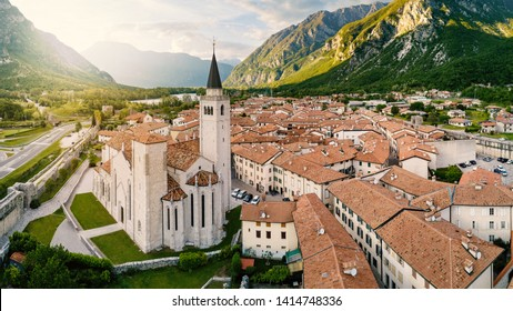 Aerial panoramic view of S. Andrea Apostolo Cathedral of Venzone, Northern Italy. It has been fully restored after the May 6th, 1976 earthquake.