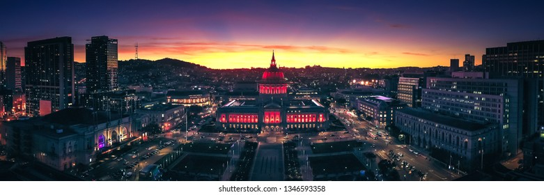 Aerial Panoramic View of the San Francisco City Hall at Sunset with City Lights