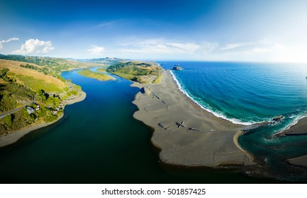 Aerial panoramic view of sea nature landscape. Coastline of the Pacific ocean, California USA. travel concept. Nature view from above to river scene. Nature sea view. Park at summer.