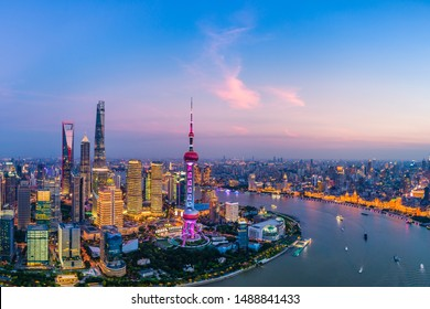 Aerial panoramic view of Shanghai skyline at night,China.