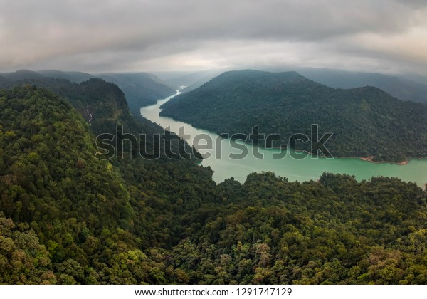 Aerial panoramic view of the Sharavati river and valley, surrounded by beautiful hills and forest, Karnataka, India