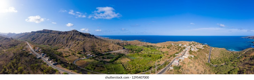 Aerial Panoramic view of Sugar canne and coconut plantation  near Calheta Sao Miguel in  Santiago island in Cape Verde - Cabo Verde
