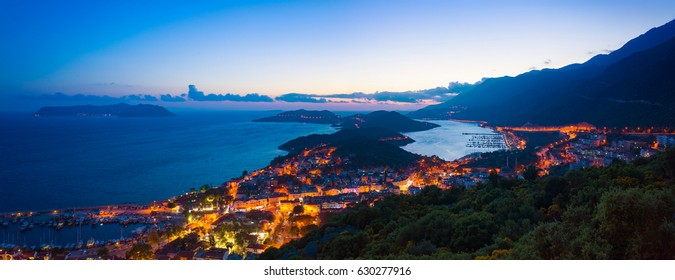 Aerial panoramic view in sunset time resort city Kas on southern coast of Turkey