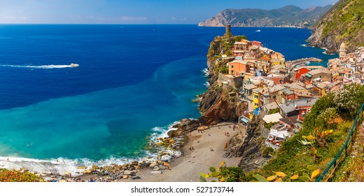 Aerial panoramic view of Vernazza fishing village in Five lands and Mediterranean Sea, Cinque Terre National Park, Liguria, Italy.