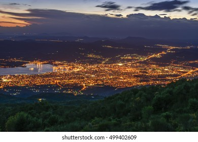 Aerial panoramic view of Volos city from Pelion Mountain. Magnesia - Greece.