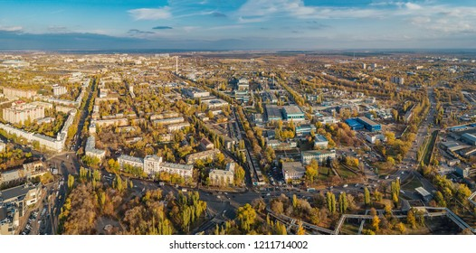 Aerial panoramic view Voronezh from height of aircraft flight. Voronezh synthetic rubber plant district in autumn