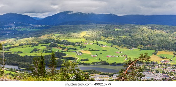 Aerial panoramic view of Voss, Hordaland, Norway