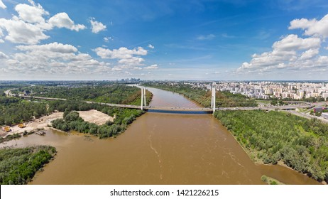Aerial panoramic view of Warsaw, capital of Poland