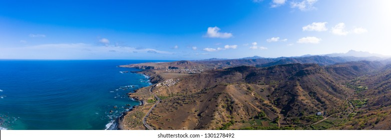 Aerial panoramic view wild coastline near Calhet  in Santiago - Cape Verde - Cabo Verde