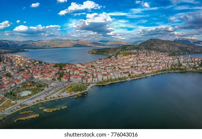 Aerial panoramic view of the wonderful Kastoria town. It is a traditional gorgeous town built on the hills on the shores of Lake Orestiada, Macedonia, Greece.