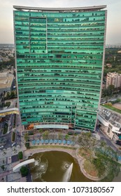 An aerial panoramic view of the World Trade Center, Bangalore, India. Photographed on 17-Apr-2018