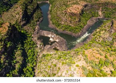 Aerial panoramic view of the Zimbabwe, Africa