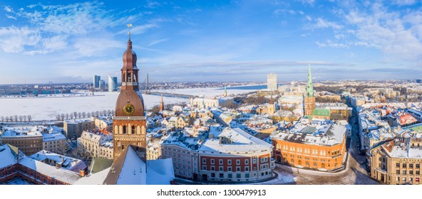 Aerial Panoramic Winter View over Riga Old Town with Dome Cathedral and River Daugava in Latvia - Image