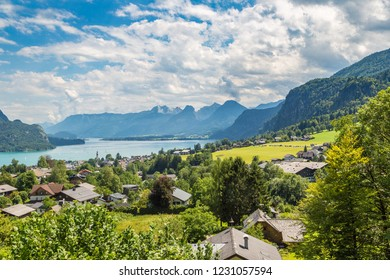 Aerial panoramica view of Wolfgangsee lake, Salzkammergut, Austria in a beautiful summer day