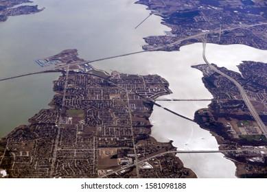Aerial partial view of Lake Ray Hubbard, Dallas, Texas, USA