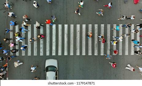 Aerial. Pedestrian crosswalk background.