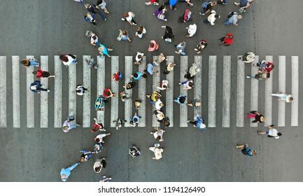 Aerial. Pedestrian crosswalk with people.