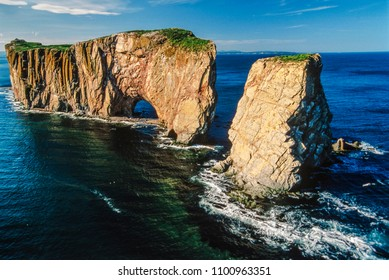 Aerial of Perce rock, Quebec, Canada