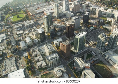 Aerial perspective of buildings in downtown Bellevue, WA