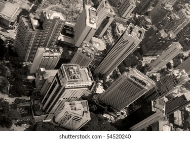 an aerial perspective of a modern city