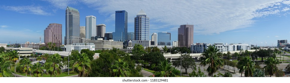 An aerial perspective on a beautiful sunny summer day in Tampa Florida downtown