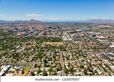 Aerial perspective of the skyline of Tempe including the campus of Arizona State