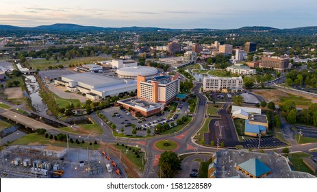 Aerial perspective of the sleepy little big town city center of Huntsville Alabama deep south USA