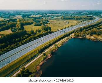 Aerial photo of the A2 highway in the Netherlands