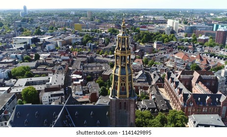 Aerial photo of the Aa-kerk tower this church is historic parish church in centre of Groningen and dominant feature in skyline of the city together with the nearby Martinitoren