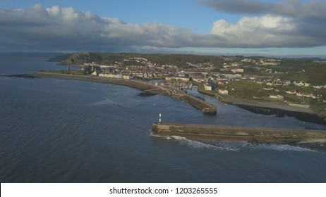 Aerial photo of Aberystwyth Harbour.