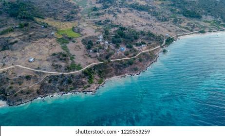 Aerial photo above Baucau coastline in Timor-Leste