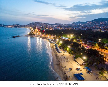 Aerial photo of Acapulco at sunset