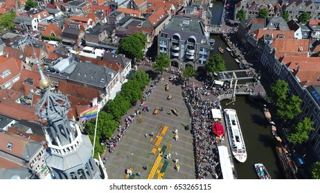 Aerial photo of Alkmaar city center behind tower Alkmaar and showing the Cheese Market in Dutch Kaas Markt a popular tourist attraction in The Netherlands