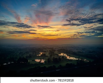 Aerial photo of the amazing sunrise over the lake