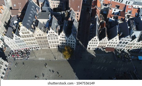 Aerial photo of Antwerp guildhalls or guild houses historically used by guilds for meetings and other purposes merchant guilds were reinvented during Europese Medieval period