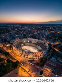 Aerial photo of Arena in Pula, Croatia at night