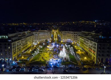 Aerial Photo of Aristotelous Square Decorated During Christmas Period, Thessaloniki Greece