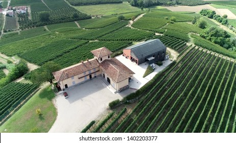 Aerial photo of Barolo winemaker building were the production of wine takes place starting with the selection of the fruit its fermentation into alcohol and the bottling of the finished liquid