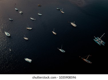 Aerial photo of a bay with a lot of boats