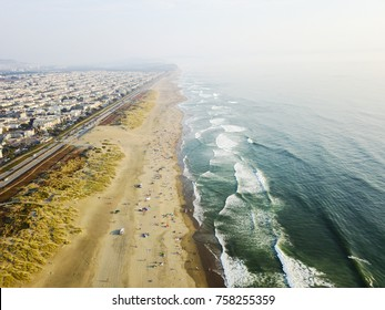 Aerial Photo of the beach on a rarely warm, but still classically foggy day in San Francisco