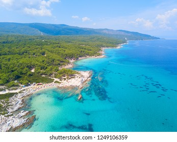 Aerial photo of the beautiful beach on Sitonia, Chalkidiki region, Greece