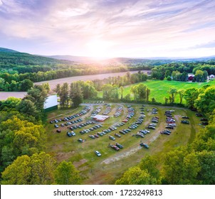 Aerial photo of beautiful outdoor country drive-in movie theater at sunset. Taken at Northfield Drive-In Theater. - Shutterstock ID 1723249813