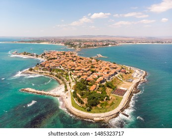 Aerial photo of the beautiful town of Nessebar, located in the Sunny Beach area of Bulgaria.