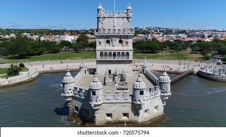 Aerial photo Belem Tower front Torre de Belem or Tower of St Vincent fortified tower located in civil parish of Santa Maria de Belem in Lisbon Portugal is UNESCO World Heritage Site